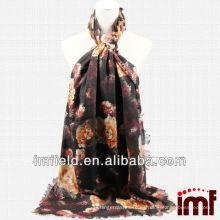 2014 Nueva tendencia de las mujeres de color marrón Peony Imprimir tejido bufanda de lana