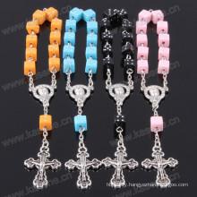 Wholesale Square Plastic Beads Jesus Rosary Bracelet