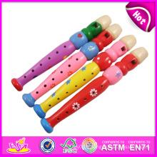 Jouet en bois coloré de flûte de 2015 pour des enfants, jouet en bois éducatif de flûte pour des enfants, jouet en bois de flûte de bande dessinée pour bébé W07D011
