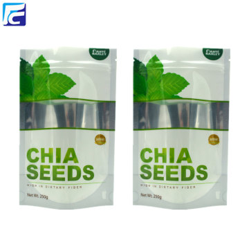Foil chia seed packaging bags with clear window