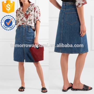 Blue Denim Skirt Fabricação Atacado Moda Feminina Vestuário (TA3027S)