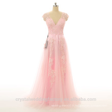 Alibaba Elegant Applique Lace Pink Pageant Beach Robes de soirée New Designer V Neck Zipper Gowns LE02