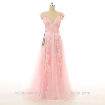 Alibaba Vestidos de noche elegantes de la playa del desfile del rosa del cordón del Applique Nuevos vestidos de la cremallera del cuello del diseñador V LE02