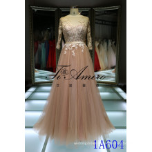 2016 Spain brand new design three quarter sleeve pink open back dress champagne tulle lace evening gown