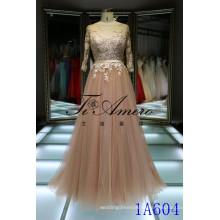 2016 Испания абсолютно новый дизайн три четверти рукав розовый открытой спиной платье шампанское тюль кружева вечерние платье