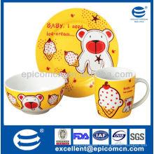 3Pcs porcelaine petit-déjeuner set BC8027 assiette & bol & mug en gros