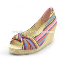 Tuch Streifen nationalen Wind Zehe Peep Schuhe Hanf High-Heels-Plattform Schuhe High Heels