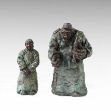 Ost-Statue Traditionelle Führen Paar Bronze Skulptur Tple-049