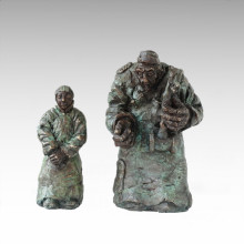 Eastern Statue Traditional Perform Couple Bronze Sculpture Tple-049