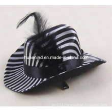 Chapeau en cuir noir en caoutchouc Pet Black and White Stripes Hat