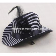 Black Leather Pet Hat Pet Black and White Stripes Hat
