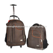 Trolley handle wheeled backpack for outdoor, waterproof, made of 600D polyester/canvas