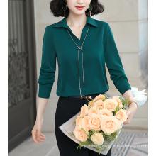 Fashion Women Autumn Fruit Green Shirt Casual Chiffon Blouses Top