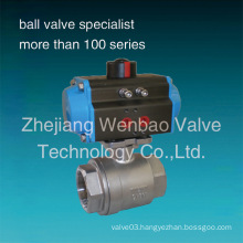 2 PC Female Threaded Stainless Stainless Pneumatic Ball Valve