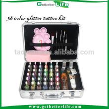 Luxe Getbetterlife 38 paillettes encre/4 brosse cosmétiques/3 colle/42 réutilisable pochoir de tatouage, tatouage de scintillement pour enfants