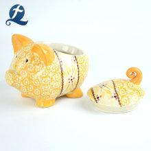 Wholesale Gift Cute Hand Painting Money Box Pig Ceramic Piggy Bank