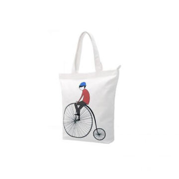 Bicycle love gift white tote shoulder bag with handle