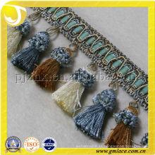 Franja de borla de venta caliente usado para los bolsos de franela de ante Fringe de lado del pelo