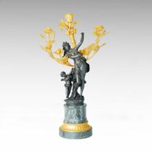 Candelero Estatua Rosa Madre-Hijo Candelero Escultura De Bronce Tpch-054j