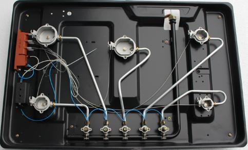 inside of five burners gas hob