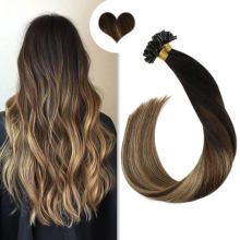 Brown Color Nail Tip Hair Extensions Best Virgin Remy Human Hair Silk Straight Keratin Pre-Bonded Hair Extensions Thick Hair End Double Drawn Hair
