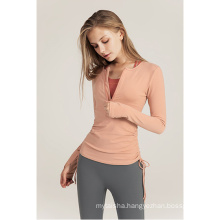 2020 Europe and the United States drawstring yoga clothes quick-drying running clothes casual Slim fitness jacket