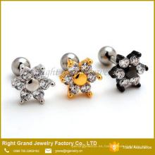 Oro plata negro zirconia cúbico conjunto Flor oreja cartílago piercing
