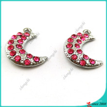 Silver Hot Pink Crystal Moon Charms Jewelry (MPE)