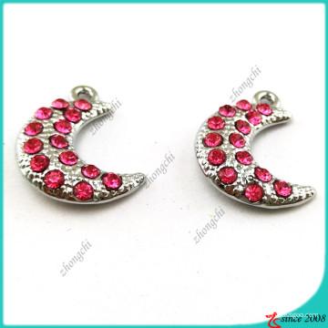 Prata Hot Pink Crystal Moon encantos jóias (MPE)