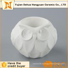 Lindo lechuza forma blanca titular de la vela de cerámica para la decoración del hogar