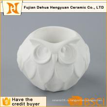 Симпатичные Сова Форма Белый керамический подсвечник для домашнего украшения