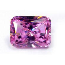 Розовый Розовый Отрезанный Кубический Драгоценный камень Циркония