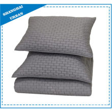 Solid Gray Brick Pattern Quilted Coverlet Set