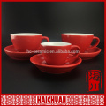 3oz stamp crockery round stoneware cup and saucer with red rattan decoration