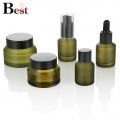 cosmetic packaging 30ml oblique shoulder matte green glass dropper bottle serum bottle