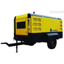 High Efficient 10 Bars Diesel Drving Portable Movable Screw Air Compressors For Mining