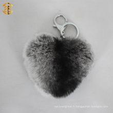 Pompoms de boule de fourrure de lapin de véritables véritables pour porte-clés ou pendentif de sac