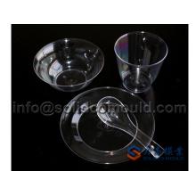 Plástico transparente una vez utilizando vajilla establece moldes de inyección