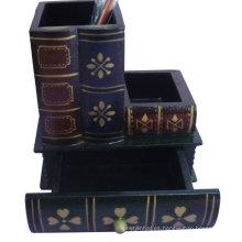 Porta pluma multifunción, material de oficina, decoración (libro antiguo)