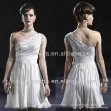 E0003 Chiffon-Cocktail-Abendkleid / schräge Schulter-Partei-Kleid-Brautkleid