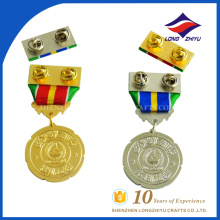 Preço de fábrica ouro prateado honra medalhas personalizadas para prêmios