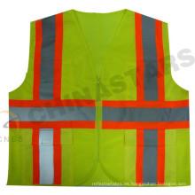 Ansi Clase 2 contraste de la cinta de caucho amarillo fluorescente chaleco con bolsillos