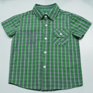 High Quality Boys Mint Check Shirts with Print