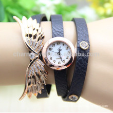 2015 New fashion Women's Vintage Angel Wings Pendant Rhinestone Leather Bracelet Quartz Wrist Watch BWL007