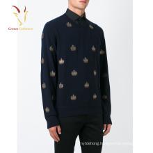 Wholesale Men Plain Design V Neck Sweaters embroidered