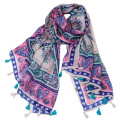 Factory suply foreign trade printed voile scarf shawl wholesale cheap vintage scarf thailand