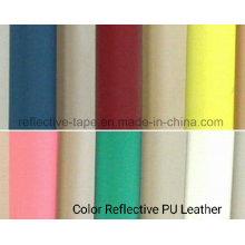 Cuero PU reflectante colorido para bolsos