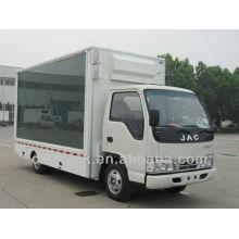 El mini camión caliente de la venta JAC montó la exhibición llevada, 4 * 2 llevó el carro de publicidad