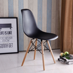 Modern Design Plastic and Wood Leg Dining Side Chair Popular Design Dining Meeting Living Room Leisure Chair Caft Loft Chairs