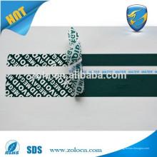 Ruban, ruban de sécurité anti-vol, ruban adhésif ouvert pour l'utilisation des paquets d'emballage